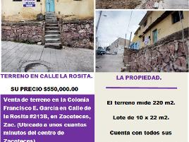Foto de terreno habitacional en venta en de la rosita , francisco e garcia, zacatecas, zacatecas, 0 No. 01