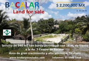 Foto de terreno comercial en venta en avenida 7 , bacalar, bacalar, quintana roo, 0 No. 01