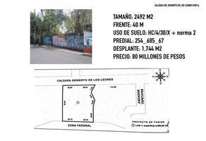 Foto de terreno habitacional en venta en calzada desierto de los leones , tetelpan, álvaro obregón, df / cdmx, 0 No. 01