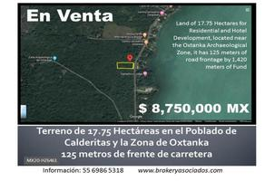 Foto de terreno comercial en venta en carretera calderitas - oxtanka , calderitas, othón p. blanco, quintana roo, 12737089 No. 01