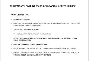 Foto de terreno habitacional en venta en  , napoles, benito juárez, df / cdmx, 14256650 No. 01