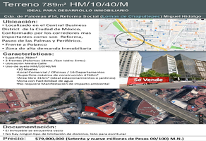 Foto de terreno comercial en venta en  , reforma social, miguel hidalgo, df / cdmx, 10998280 No. 01