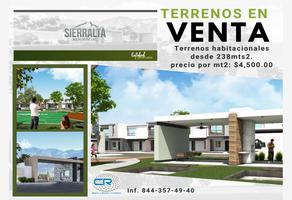 Foto de terreno habitacional en venta en sierralta residencial saltillo a, virreyes residencial, saltillo, coahuila de zaragoza, 18869809 No. 01
