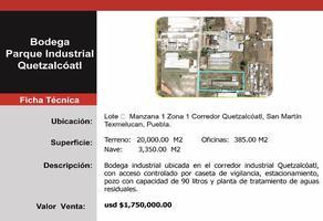 Foto de nave industrial en venta en  , centro, san martín texmelucan, puebla, 6572501 No. 01