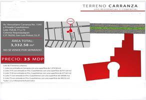 Foto de terreno comercial en venta en venustiano carranza , tequisquiapan, san luis potosí, san luis potosí, 14480247 No. 01
