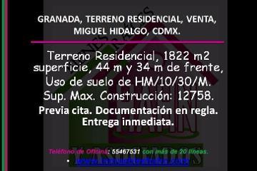 Foto de terreno habitacional en venta en  , ampliación granada, miguel hidalgo, distrito federal, 2803848 No. 01