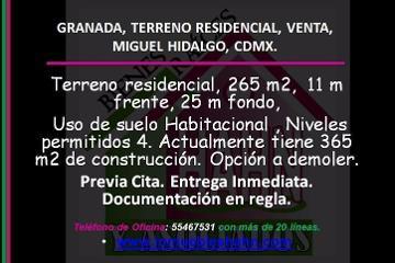 Foto de terreno habitacional en venta en  , ampliación granada, miguel hidalgo, distrito federal, 0 No. 01