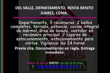 Foto de departamento en renta en  , letrán valle, benito juárez, distrito federal, 2805199 No. 01