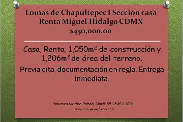 Foto de casa en renta en  , lomas de chapultepec i sección, miguel hidalgo, distrito federal, 2324820 No. 01
