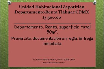 Foto de departamento en renta en  , zapotitlán, tláhuac, distrito federal, 1737280 No. 01
