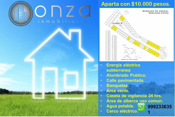 Foto de terreno habitacional en venta en 21 , conkal, conkal, yucatán, 5307853 No. 01