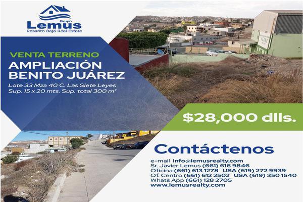 Foto de terreno habitacional en venta en  , ampliación benito juárez, playas de rosarito, baja california, 8043093 No. 01