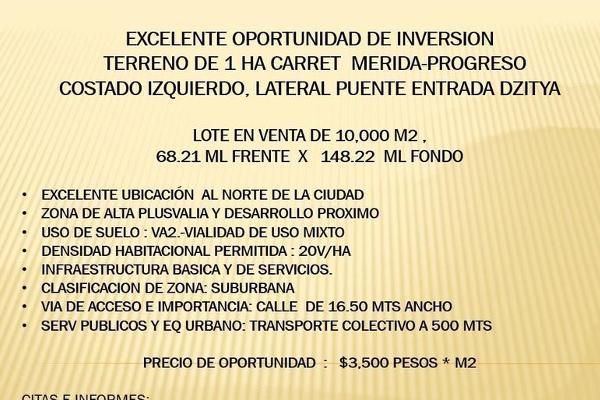 Foto de terreno habitacional en venta en  , dzitya, mérida, yucatán, 7860661 No. 01
