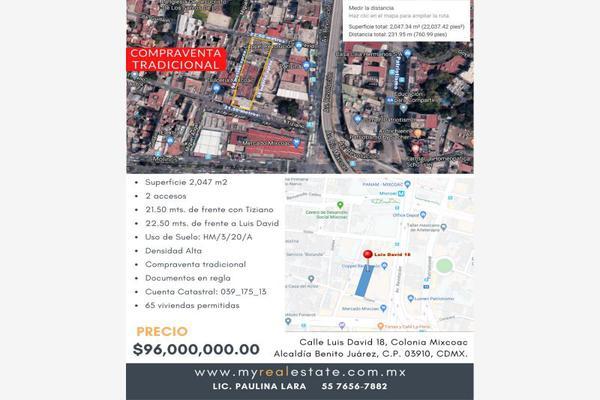 Foto de terreno comercial en venta en luis david 18, mixcoac, benito juárez, df / cdmx, 13751413 No. 01