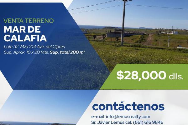 Foto de terreno habitacional en venta en  , mar de calafia, playas de rosarito, baja california, 8043098 No. 01