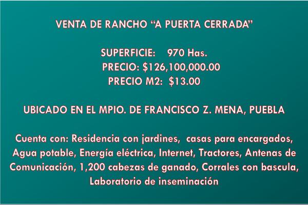 Foto de rancho en venta en  , metlaltoyuca, francisco z. mena, puebla, 15751133 No. 01