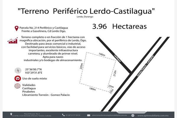 Foto de terreno industrial en venta en s/n , rincón del periférico, lerdo, durango, 8804148 No. 01