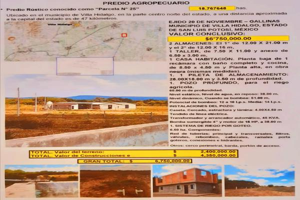 Foto de terreno comercial en venta en villa hidalgo 1, san luis potosí centro, san luis potosí, san luis potosí, 19818464 No. 01