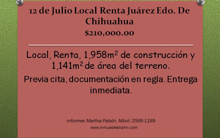Foto de local en renta en  , 12 de julio, juárez, chihuahua, 1088043 No. 01