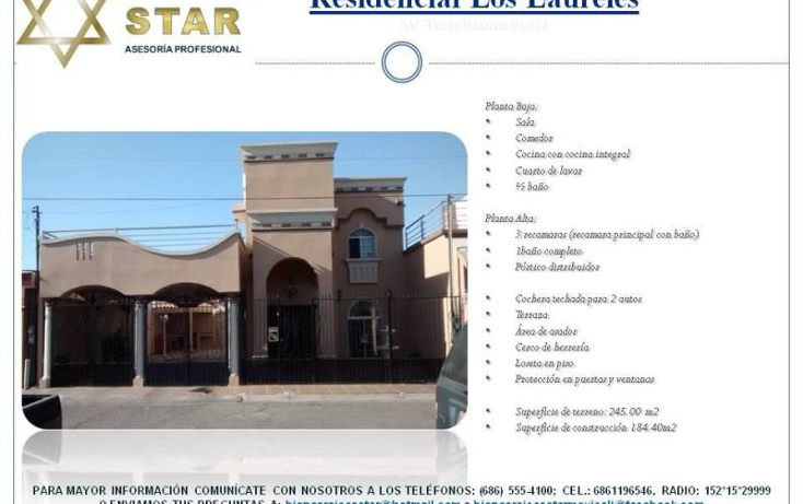 Foto de casa en venta en  3041, los laureles, mexicali, baja california, 1215595 No. 01