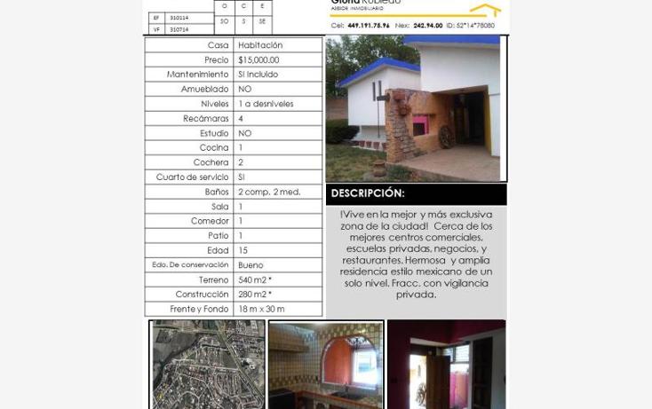 Foto de casa en renta en  320, campestre la herradura, aguascalientes, aguascalientes, 615220 No. 01