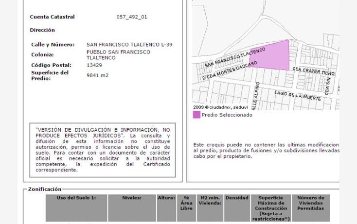 Foto de terreno habitacional en venta en  39, san francisco tlaltenco, tláhuac, distrito federal, 1902930 No. 02
