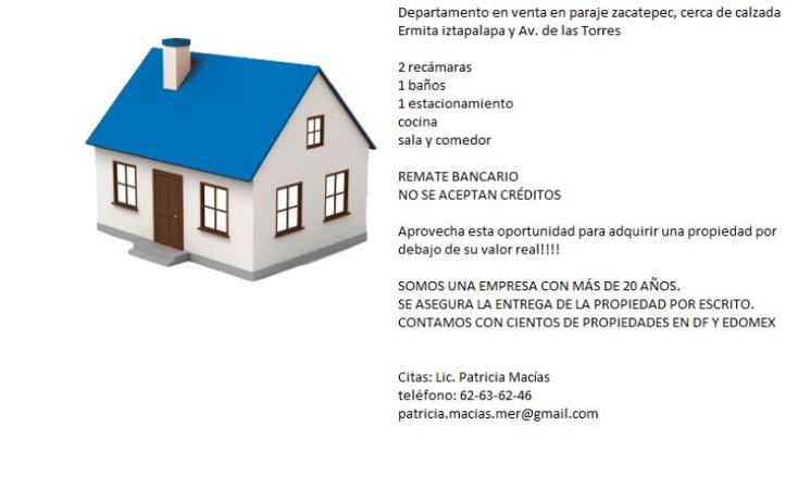 Foto de departamento en venta en morelos 49, paraje zacatepec, iztapalapa, distrito federal, 2693380 No. 02