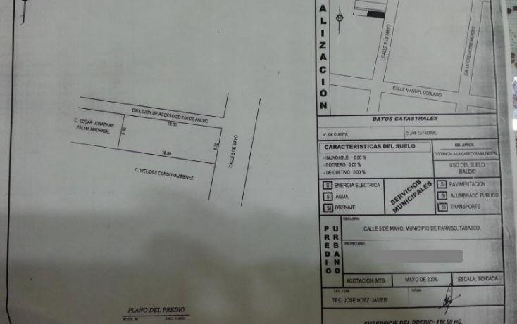 Foto de terreno habitacional en venta en 5 de mayo, paraíso centro, paraíso, tabasco, 1167733 no 01