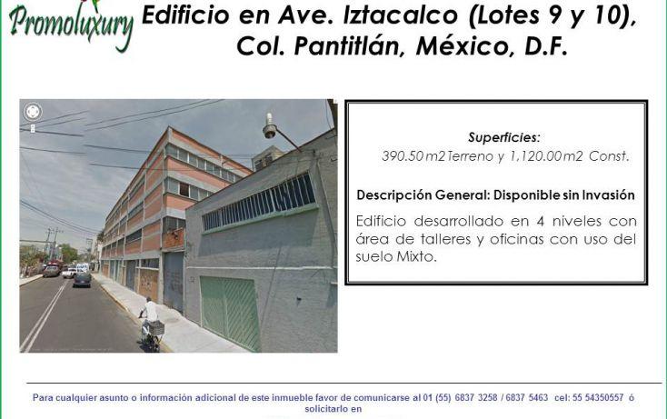 Foto de edificio en venta en, agrícola pantitlan, iztacalco, df, 1824180 no 01
