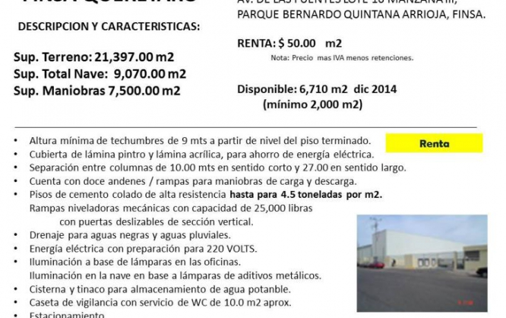 Foto de nave industrial en renta en amd finsa  av de las fuentes 16, centro, el marqués, querétaro, 754147 no 01