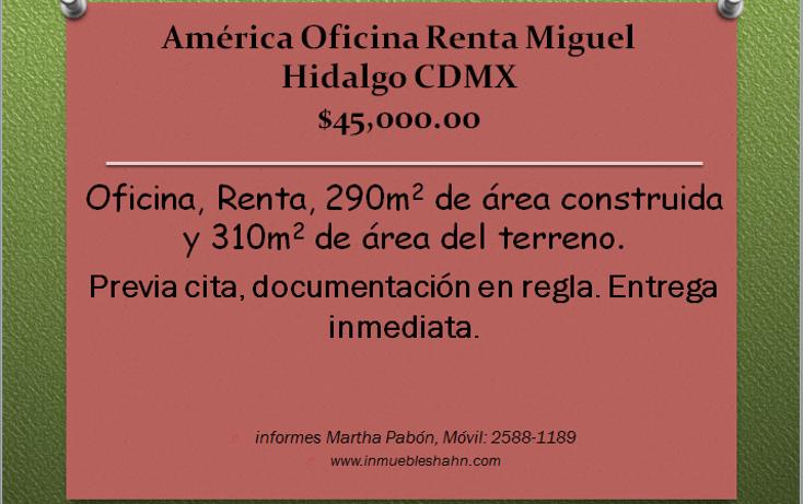 Foto de oficina en renta en  , américa, miguel hidalgo, distrito federal, 1774012 No. 01