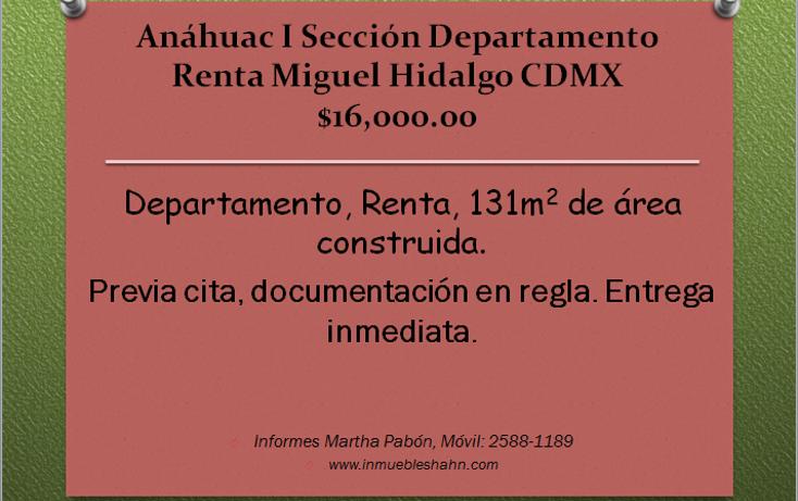 Foto de departamento en renta en  , anahuac i sección, miguel hidalgo, distrito federal, 1874018 No. 01