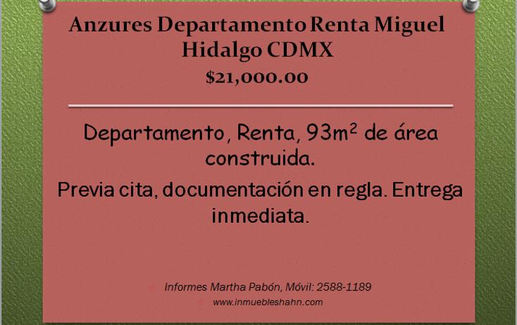 Foto de departamento en renta en  , anzures, miguel hidalgo, distrito federal, 1993472 No. 01