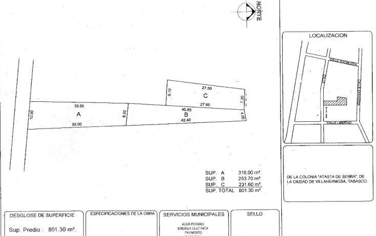 Foto de terreno comercial en venta en, atasta, centro, tabasco, 1197817 no 01