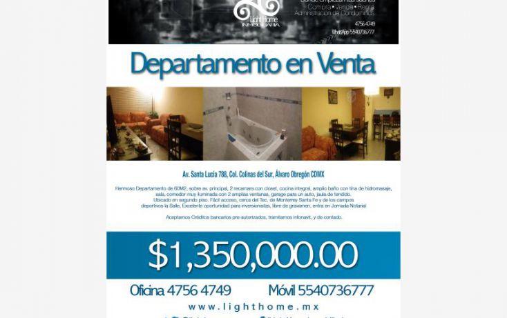 Foto de departamento en venta en av santa lucia 788, colina del sur, álvaro obregón, df, 2009352 no 01