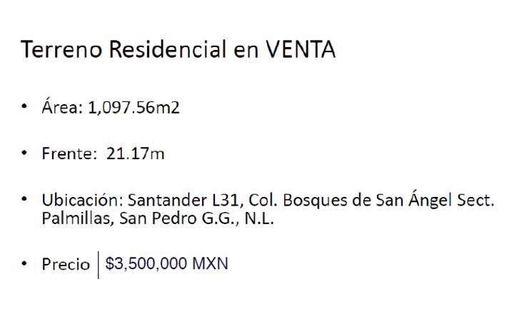 Foto de terreno habitacional en venta en  , bosques de san ángel sector palmillas, san pedro garza garcía, nuevo león, 1588480 No. 02