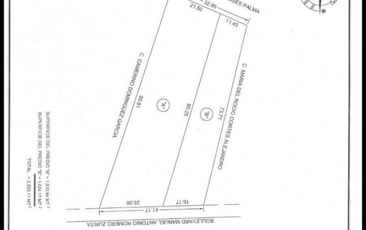 Foto de terreno habitacional en venta en boulevard manuel antonio romeo zurita, quintín arauz, paraíso, tabasco, 1491687 no 03