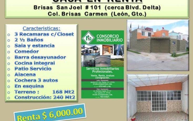 Foto de casa en renta en brisas de san joel 101, brisas del carmen, león, guanajuato, 1690340 no 01