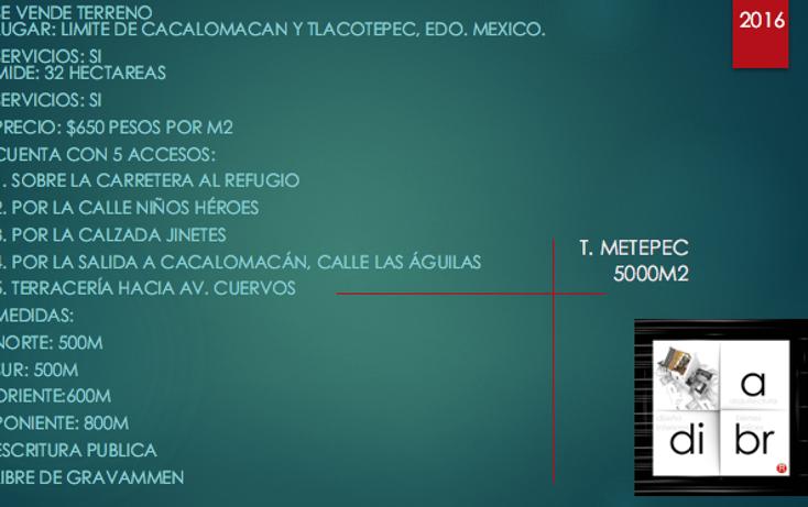 Foto de terreno comercial en venta en  , cacalomacán centro, toluca, méxico, 2631196 No. 02