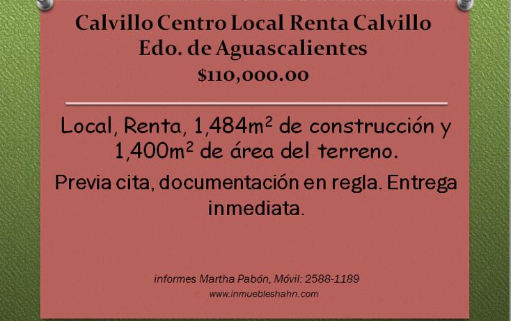 Foto de local en renta en  , calvillo centro, calvillo, aguascalientes, 1088047 No. 01