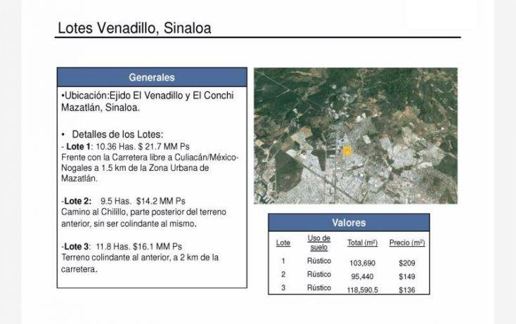 Foto de terreno habitacional en venta en camino al chilillo 983, el chilillo, mazatlán, sinaloa, 1009983 no 02