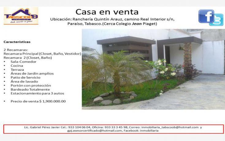 Foto de casa en venta en camino real interior, costa real, paraíso, tabasco, 1844570 no 01