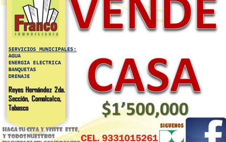 Foto de casa en venta en camino viejo, cap reyes hernandez 2a secc, comalcalco, tabasco, 1436997 no 01
