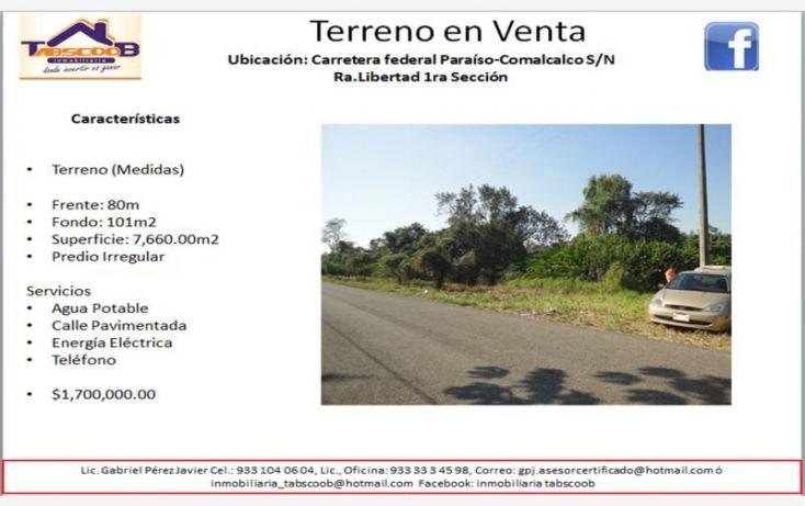 Foto de terreno comercial en venta en carretera federal paraísocomalcalco, costa real, paraíso, tabasco, 1788172 no 01