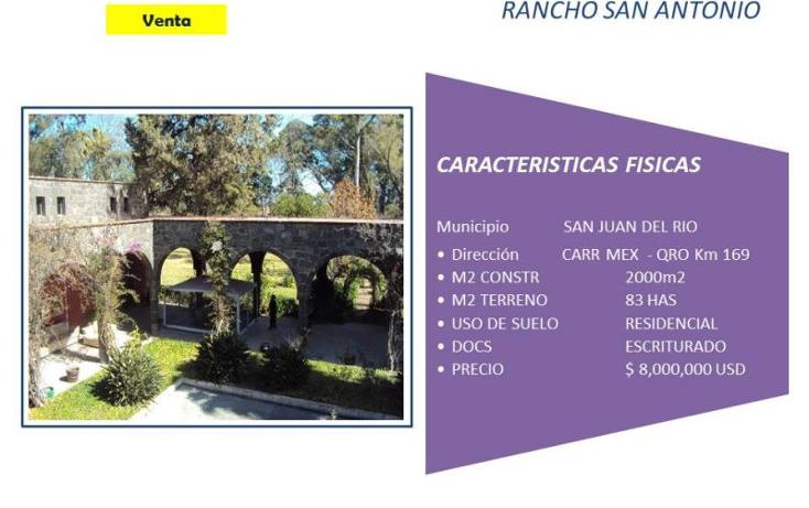 Foto de rancho en venta en carretera mexico - qro, san juan del rio nd, la mesa, san juan del r?o, quer?taro, 754231 No. 01