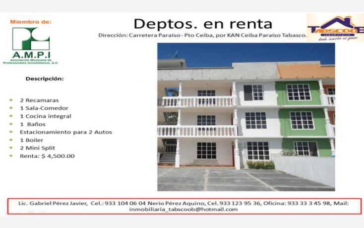Foto de departamento en renta en carretera paraíso ppuerto ceiba, la ceiba, paraíso, tabasco, 1903774 no 01