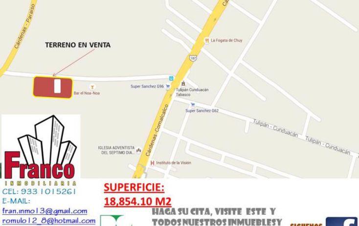Foto de terreno comercial en venta en carretera rió seco, la chonita, cunduacán, tabasco, 1535136 no 02