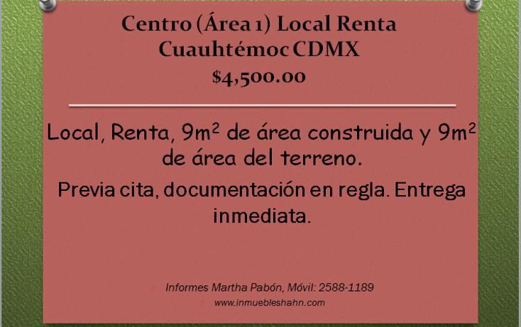 Foto de local en renta en  , centro (?rea 1), cuauht?moc, distrito federal, 1046705 No. 01
