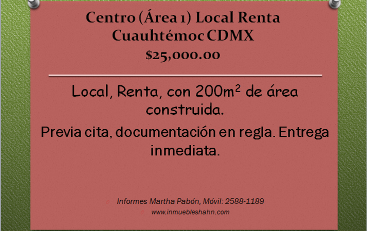 Foto de local en renta en  , centro (área 1), cuauhtémoc, distrito federal, 1086995 No. 01