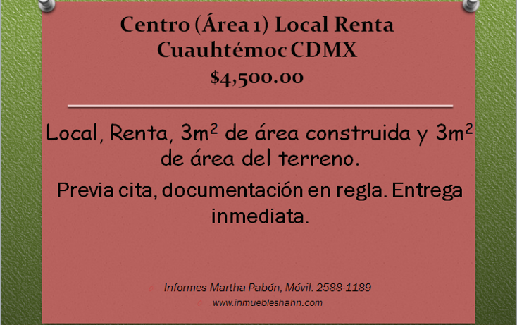 Foto de local en renta en  , centro (área 1), cuauhtémoc, distrito federal, 1148083 No. 01